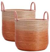 Pottery Barn Teen Woven Seagrass Storage Baskets, Medium, Set of 2, Blush Ombre