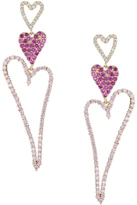 Eye Candy La Luxe Goldtone & Cubic Zirconia Triple Heart Drop Earrings