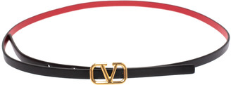Valentino Black/Red Leather Reversible Narrow V Logo Belt 70CM