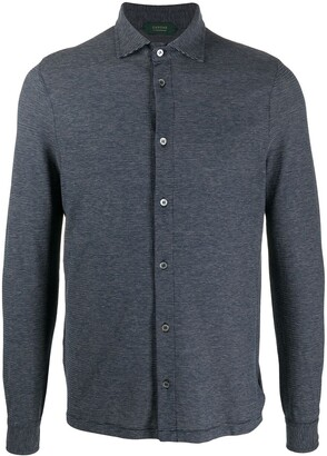 Zanone Striped-Print Long-Sleeved Shirt
