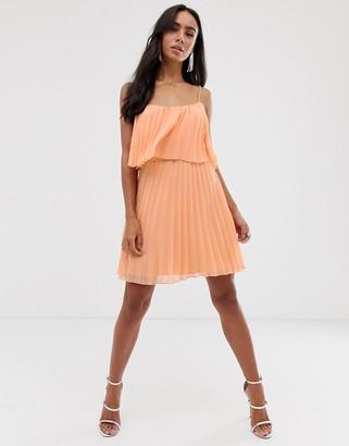 Asos Design DESIGN pleated crop top mini dress with scoop neck-Pink