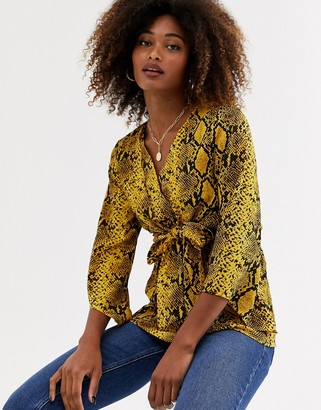 AX Paris tie front blouse in snake