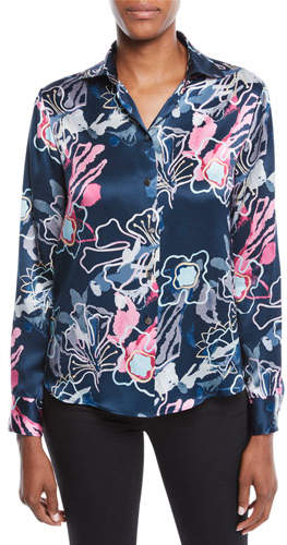 Giorgio Armani Long-Sleeve Button-Front Abstract Floral-Print Silk Blouse