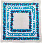 Chanel Blue & White Chain Silk Scarf