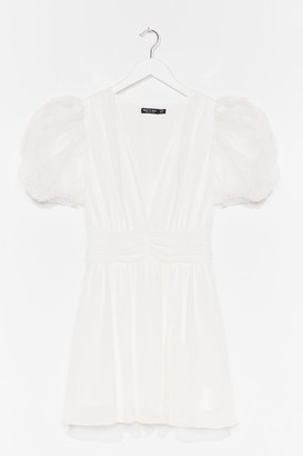 Nasty Gal Womens Moving Chiffon Puff Sleeve Mini Dress - White