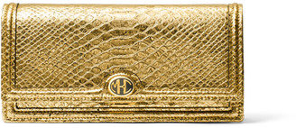 Michael Kors Metallic Python-Print Leather Clutch
