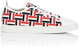 Thom Browne MEN'S WOVEN GROSGRAIN LOW-TOP SNEAKERS-WHITE SIZE 12 M
