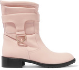 RED Valentino Faux Fur Trimmed Leather Boots