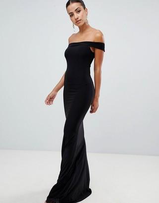 Club L London bardot fishtail maxi dress-Black