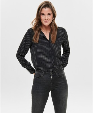 Only Grandad Collar Blouse in Polka Dot with Long Sleeves