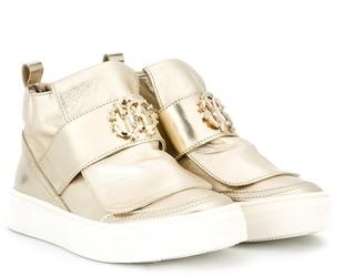 Roberto Cavalli Junior Metallic Hi-Top Sneakers