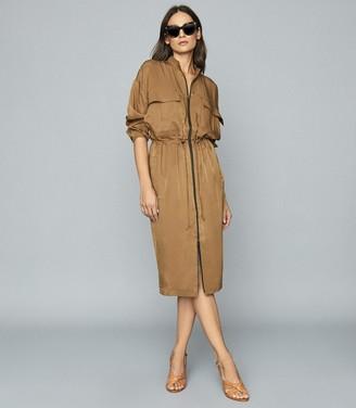 Reiss SYLVIE UTILITY SHIRT DRESS Mid Brown