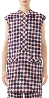 Gucci Tweed Plaid Sleeveless Wool-Blend Tunic Top