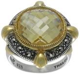 Suspicion Sterling Marcasite & Simulated CanaryDiamond Ring