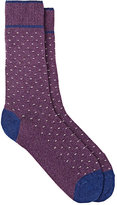Barneys New York Men's Mini-Zigzag-Pattern Mid-Calf Socks-PURPLE, BLUE, WHITE