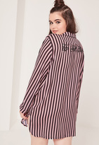 Missguided Plus Size Striped Graphic Nightshirt Black