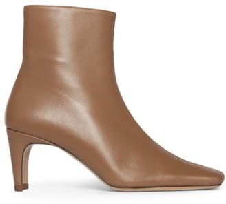 STAUD Eva Square-Toe Leather Ankle Boots