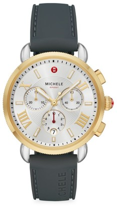Michele Sport Sail Two-Tone & Silicone Strap Chronograph Watch