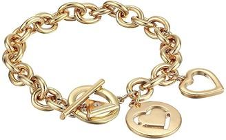 GUESS Double Heart Charm Toggle Bracelet (Gold) Bracelet