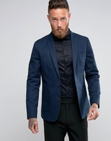 Asos Skinny Blazer in Washed Cotton In Navy