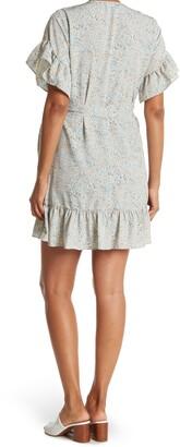 Love Stitch Floral Ruffle Wrap Dress