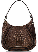 Brahmin Palermo Collection Amira Tasseled Crocodile-Embossed Whip-Stitched Hobo Bag