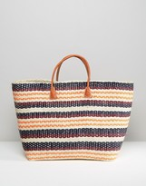 Hat Attack Provence Stripe Straw Tote Bag