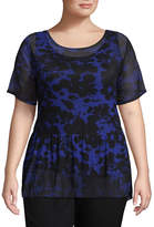 WORTHINGTON Worthington Short Sleeve Babydoll Woven Blouse - Plus