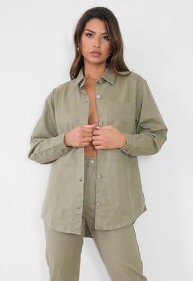 Missguided Khaki Co Ord Utility Denim Shirt