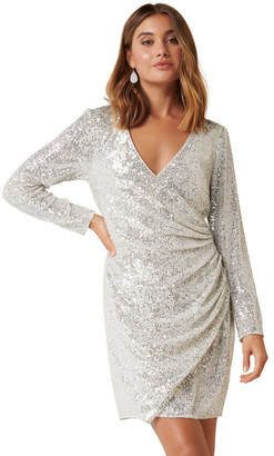 Forever New Jessica Long Sleeve Sequin Dress