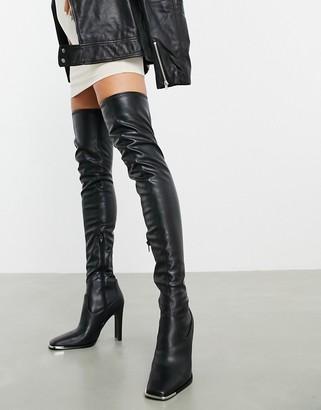 ASOS DESIGN Kieran thigh-high boots with metal trim in black