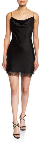 Alice + Olivia Harmony Cowl-Neck Lace-Hem Mini Slip Dress