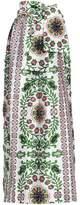 Tory Burch Crystal-Embellished Printed Silk-Satin Maxi Skirt