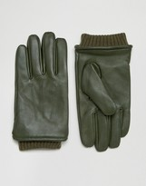 Barney's Originals Barneys Khaki Leather Gloves with Cuff Details