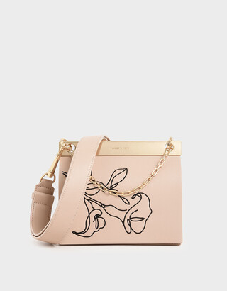 Charles & Keith Floral Embroidered Chain Handle Bag