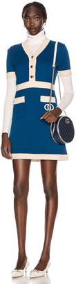 Gucci Short Sleeve Tennis Mini Dress in Blue & Ivory | FWRD