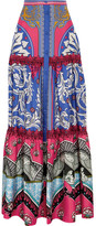 Mary Katrantzou Kings Fuxia Printed Silk-twill Maxi Skirt - Blue
