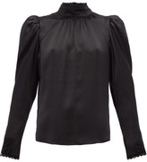 Frame Lace-trimmed Silk-satin Blouse - Womens - Black