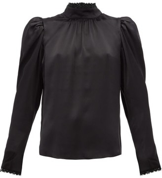 Frame Lace-trimmed Silk-satin Blouse - Black