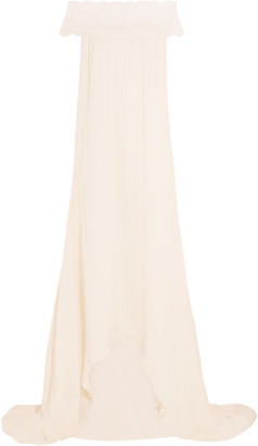 Self-Portrait Bardot Guipure Lace-trimmed Satin Gown