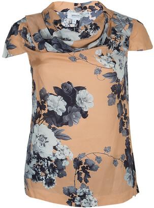 Armani Collezioni Brown Floral Print Silk Blouse S