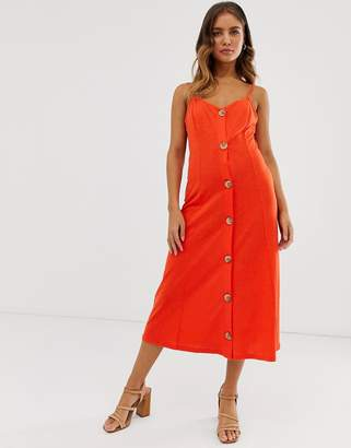 Asos Design DESIGN midi slubby cami swing dress with faux wood buttons-Red