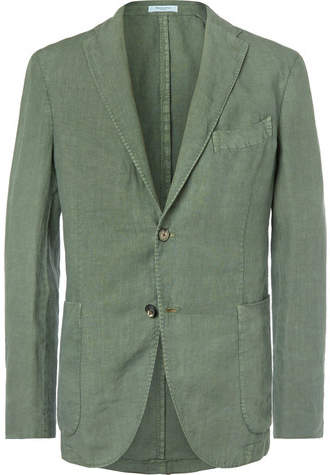 Boglioli Green Slim-Fit Unstructured Linen Suit Jacket