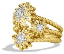 David Yurman Starburst Cluster Ring with Diamonds in Gold