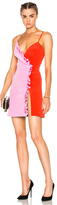 Fausto Puglisi Bicolor Ruffle Dress in Pink,Red.