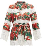 Dolce & Gabbana Geranium-print Cotton-blend Pyjama Jacket - Womens - Red Multi