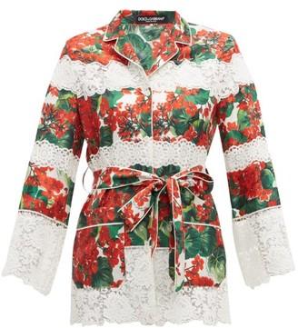 Dolce & Gabbana Geranium-print Cotton-blend Pyjama Jacket - Red Multi