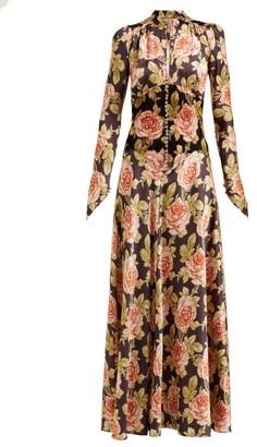 Paco Rabanne Rose-print Satin And Velvet Maxi Dress - Womens - Multi