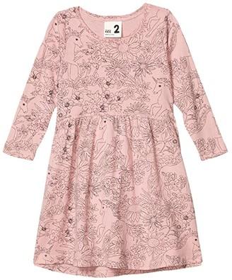 Cotton On Freya Long Sleeve Dress (Little Kids) (Sweet Blush/Unicorns and Wildflowers) Girl's Dress