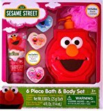 Sesame Street 6 Piece Bath & Body Set Elmo and Cookie Monster Perfect Christmas Gift Ready to Wrap (ELMO)